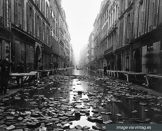Library books during the Great 1910 Parisian Flood.